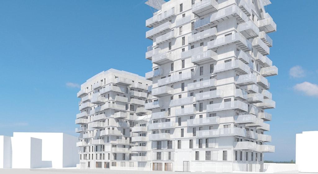 Altana Nanterre 154 balcons rapportés sur façade béton neuve avec bac collaborant laqué. Pose jusqu'au R+15