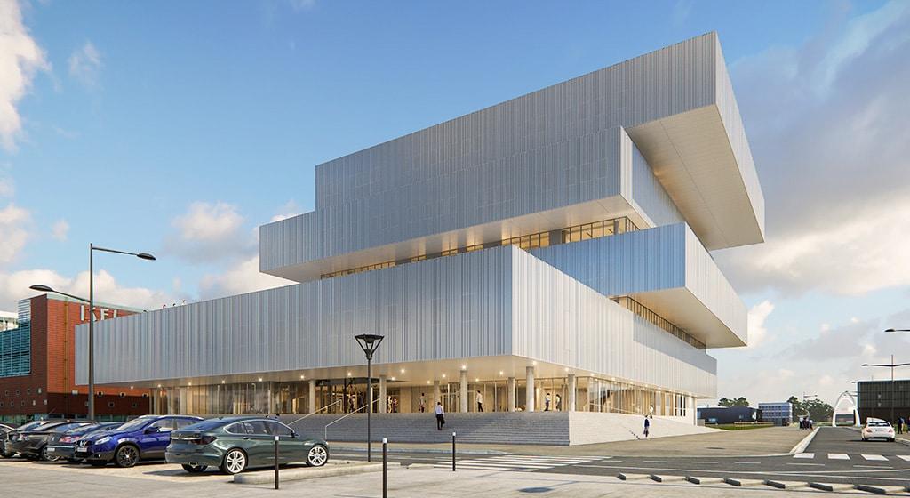 EMN au Havre 300 tonnes de structure rapportée contre façade béton avec 4200m² de plancher collaborant mixte avec goujons